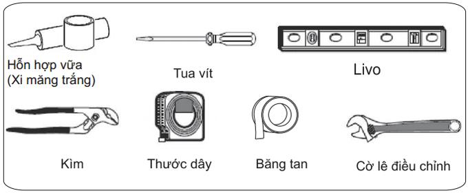 Các dụng cụ cần để lắp đặt bồn cầu Viglacera