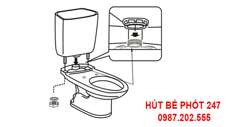 Lắp két nước vào bồn cầu inax