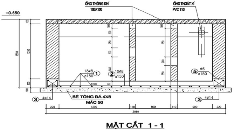 Bản vẽ thiết kế bể tự hoại 3 ngăn cải tiến Bastaf