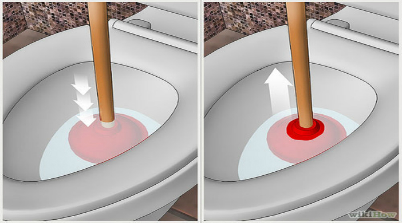 thông tắc bồn cầu bằng pit-tong cao su